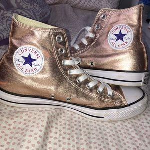 Metallic Rose Gold Converse - Women's Size 9